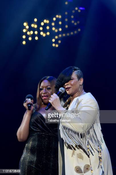 Angie Greaves and Gabrielle on stage during Magic Soul Live at Eventim Apollo, Hammersmith on February 23, 2019 in London, England.