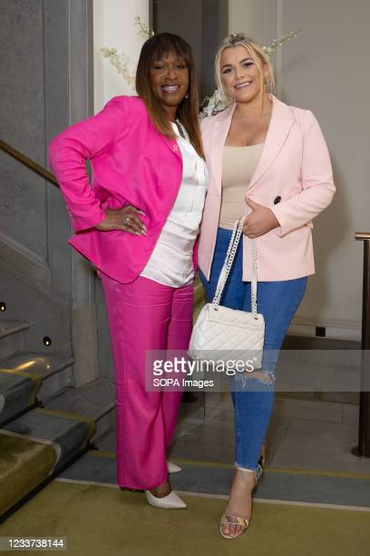 Angie Greaves and Saffron Lempriere attend afternoon tea at Corinthia Hotel London in aid of Breast Cancer Now hosted by Angie Greaves and Concorde...