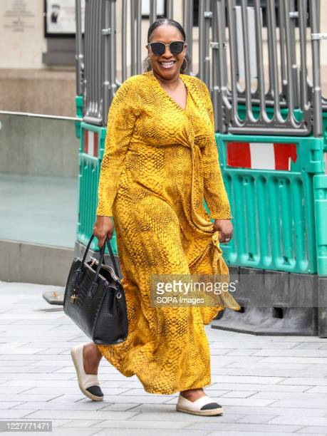 Angie Greaves arriving at the Global Radio Studios in London.