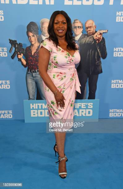"""Angie Greaves attends a special screening of """"Hitman's Wife's Bodyguard"""" at Cineworld Leicester Square on June 14, 2021 in London, England."""