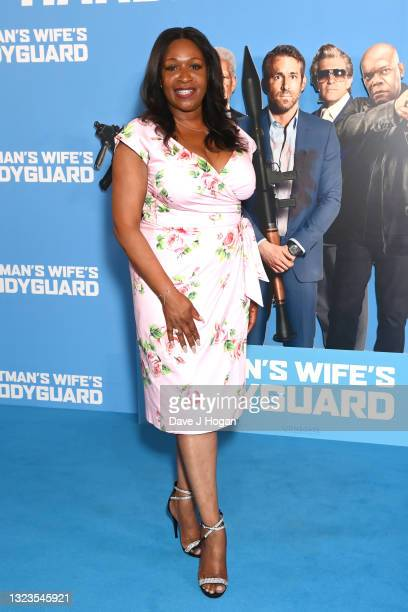 """Angie Greaves attends the """"Hitman's Wife's Bodyguard"""" special screening at Cineworld Leicester Square on June 14, 2021 in London, England."""