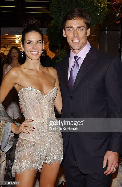 Angie Harmon and and Jason Sehorn during 2002 VH1 Vogue Fashion Awards Arrivals at Radio City Music Hall in New York City New York United States
