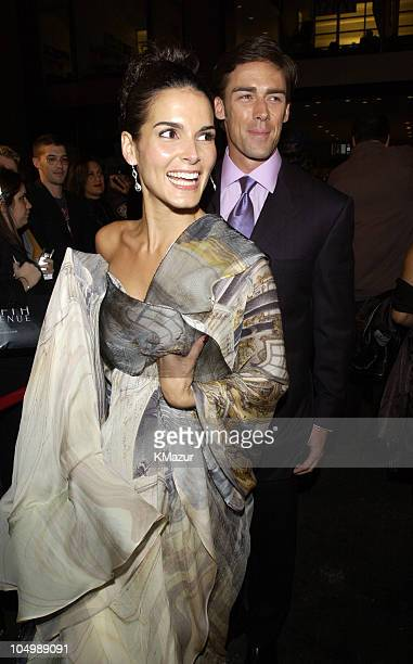Angie Harmon and Jason Sehorn during 2002 VH1 Vogue Fashion Awards Arrivals at Radio City Music Hall in New York City New York United States
