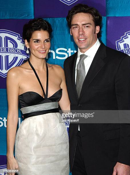 Angie Harmon and Jason Sehorn during 2005 InStyle/Warner Bros Golden Globes Afterparty Arrivals at Beverly Hills Hilton in Beverly Hills California...