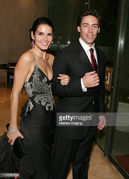 Angie Harmon and Jason Sehorn during The 63rd Annual Golden Globe Awards Party Hopping at Beverly Hilton Hotel in Beverly Hills California United...
