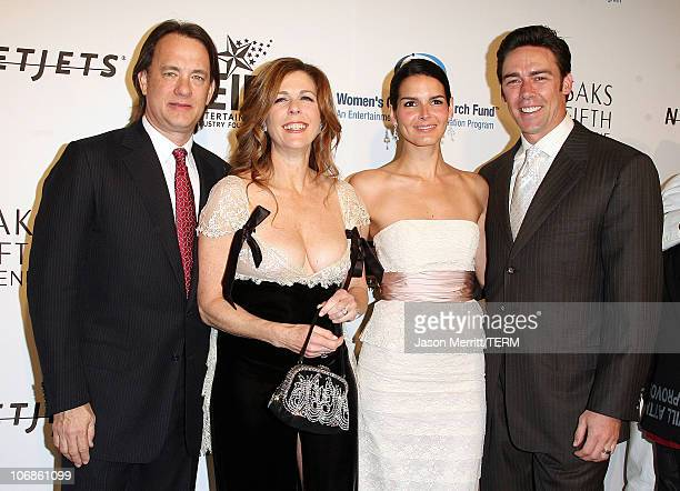 Angie Harmon and Jason Sehorn with Tom Hanks and Rita Wilson