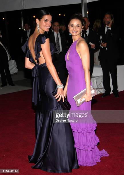 Angie Harmon and Mia Maestro during 'AngloMania' Costume Institute Gala at The Metropolitan Museum of Art Departures Celebrating 'AngloMania...