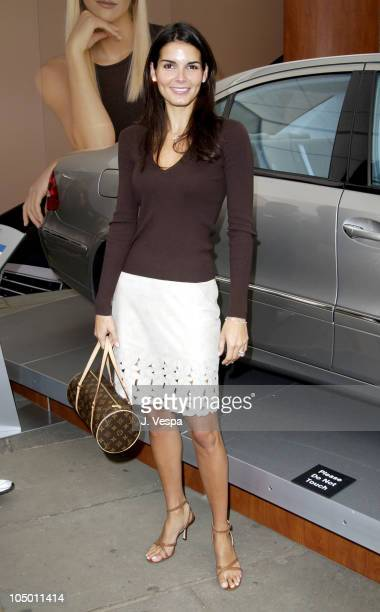 Angie Harmon during MercedesBenz Fashion Week Spring Collections 2003 Opening Ceremony at Bryant Park in New York City New York United States