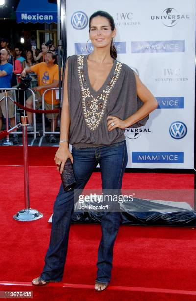 Angie Harmon during Miami Vice World Premiere Arrivals at Mann Village Westwood in Westwood California United States