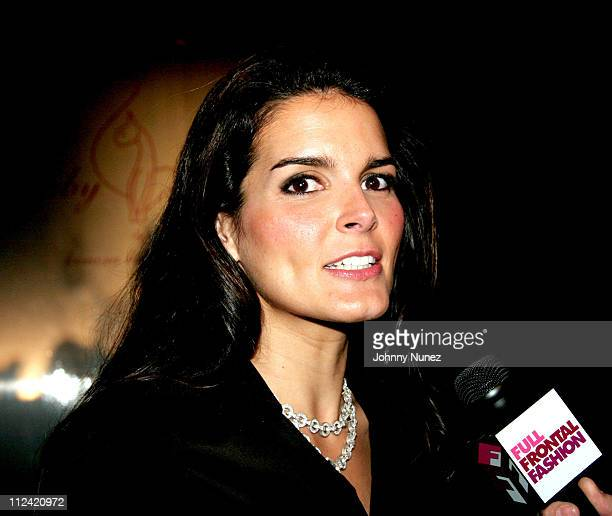 Angie Harmon during Olympus Fashion Week Fall 2006 - Baby Phat - Front Row and Backstage at Bryant Park in New York City, New York, United States.
