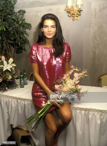 Angie Harmon during Press Conference for Winner of Spectrum 1991 Fresh Faces Model Search at Laura Belle's in New York, New York, United States.
