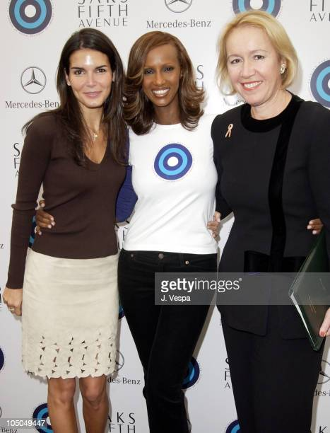 Angie Harmon Iman and Libby Pataki during MercedesBenz Fashion Week Spring Collections 2003 Opening Ceremony at Bryant Park in New York City New York...