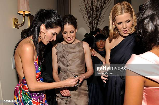 Angie Harmon Michelle Monaghan and Mary Alice Stephenson attend the Kara Ross NY Oscar Collection Cocktail Party at the Sunset Tower Hotel on...