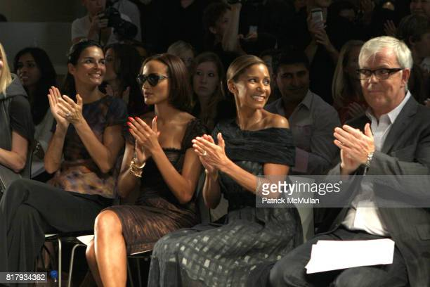 Angie Harmon Selita Ebanks and John Barrett attend Christian Cota Spring 2011 Fashion Show at David Rubenstein Atrium NYC on September 11 2010