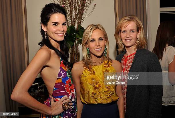 Angie Harmon, Tory Burch and Kara Ross attend the Kara Ross NY Oscar Collection Cocktail Party at the Sunset Tower Hotel on February 21, 2008 in Los...
