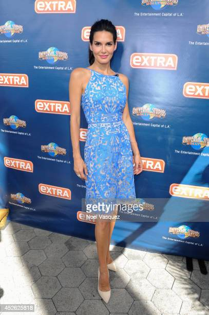 Angie Harmon visits 'Extra' at Universal Studios Hollywood on July 24 2014 in Universal City California