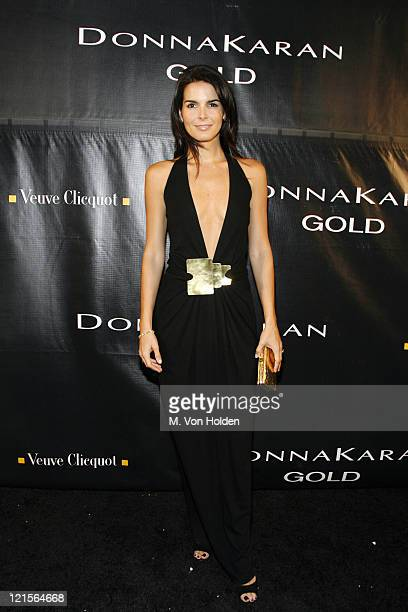 Angie Harmon wearing Donna Karan during Donna Karan 'Gold' Fragrance Collection Launch Party at Donna Karan Flagship in New York City New York United...