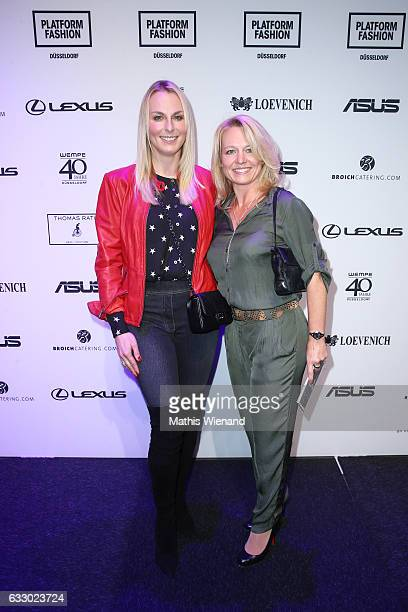 Angie Herzog and Manuela Spitz attend the Thomas Rath show during Platform Fashion January 2017 at Areal Boehler on January 29 2017 in Duesseldorf...