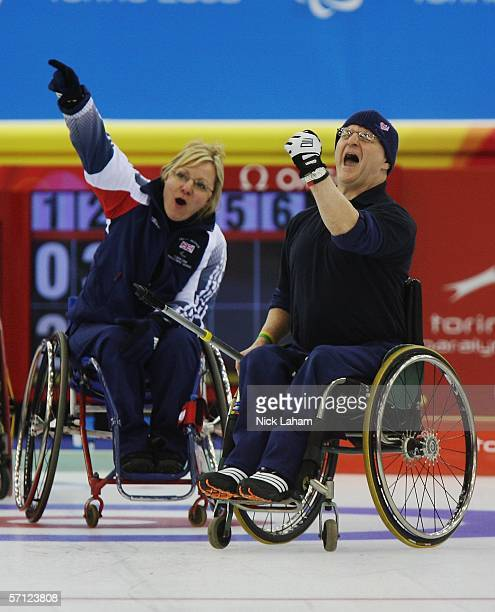 Angie Malone and Great Britian team mate Michael McCreadie celebrate a point during the Wheelchair Curling Final between Great Britain and Canada...