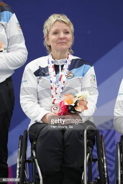 Angie Malone from Scotland attends the medal ceremony in the World Wheelchair Curling Championship 2017 test event for PyeongChang 2018 Winter...