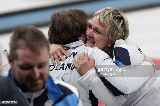Angie Malone from Scotland hugs with teammate Aileen Neilson from Scotland after winning the final in the World Wheelchair Curling Championship 2017...