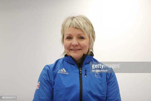 Angie Malone is photographed at announcement of the ParalympicsGB Wheelchair Curling Team at The National Curling Centre on January 10 2018 in...