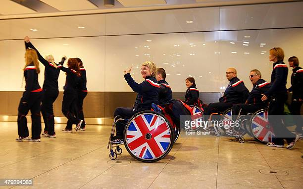 Angie Malone of Great Britain and the rest of the team arrive home during the ParalympicsGB Welcome Home Press Conference at Heathrow Airport on...