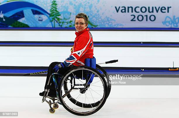 Angie Malone of Great Britain considers her next shot while competing during the Wheelchair Curling Round Robin game between Great Britain and Canada...