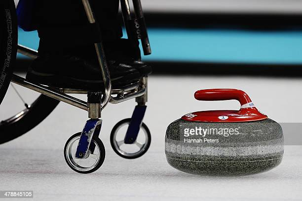 Angie Malone of Great Britain lines up a shot during the bronze medal match between China and Great Britain on day eight of Sochi 2014 Paralympic...