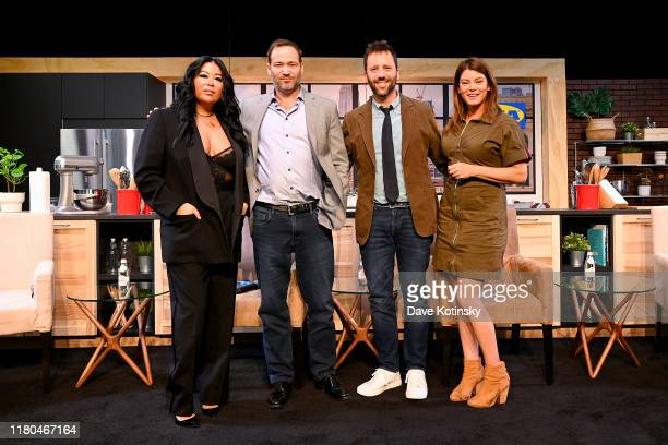 Angie Mar Jason Riis Dan Pashman and Gail Simmons pose onstage during the Food Fake News Separating Fact from Fiction presented by Ajinomoto panel at...