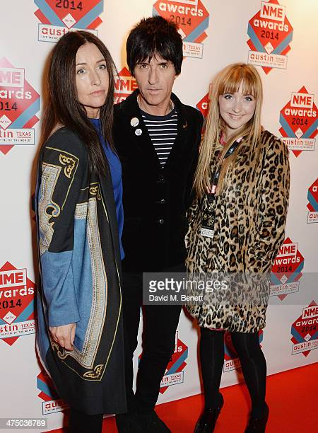 Angie Marr Johnny Marr and Sonny Marr attend the annual NME Awards at Brixton Academy on February 26 2014 in London England