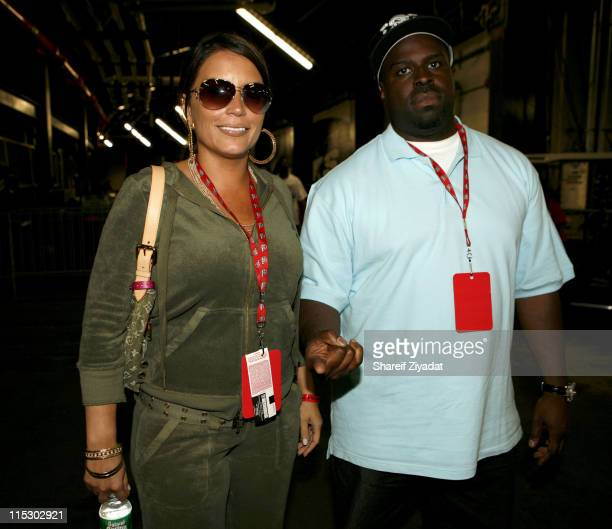 Angie Martinez and Funkmaster Flex during HOT 97 Summer Jam 2006 at Giants Stadium in East Rutherford New Jersey United States