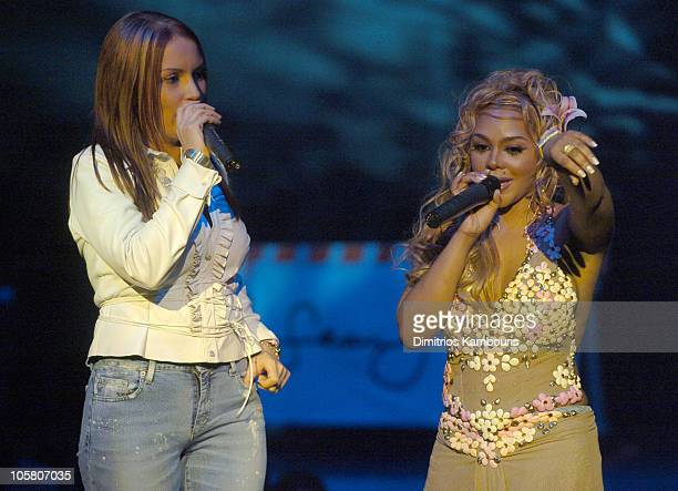 Angie Martinez and Lil Kim during Fuse and Hot 97 Present Full Frontal Hip Hop With Host Lil Kim at Webster Hall in New York City New York United...