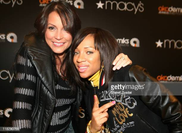 Angie Martinez and Lil Mama attend Akademics presents Lil Mama Hot 97's Angie Martinez special appearance at Macys on November 9 2007 in New York City