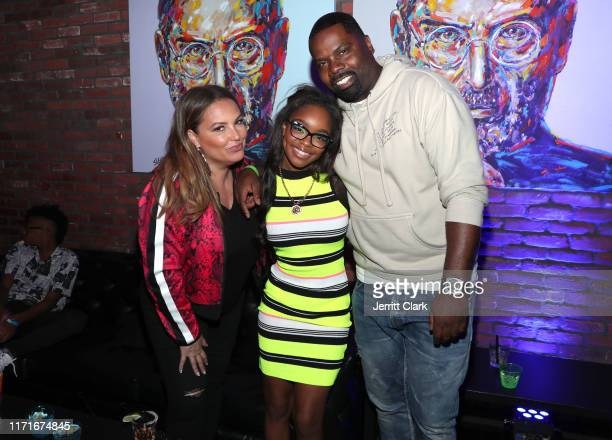 Angie Martinez Marsai Martin and Oronde Garrett attend Marsai Martin's 15th Birthday Party at Lucky Strike LA Live on September 01 2019 in Los...