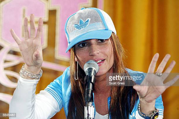Angie Martinez speaks attends a press conference to annouce Missy Elliott's partnership with Adidas and present her Adidas clothing line 'Respect Me'...