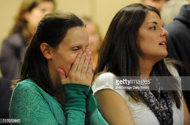 Angie Murray and Samantha Campbell react to the guilty verdicts in an Anchorage courtroom on June 15, 2011. The women have been friends since the 7th...