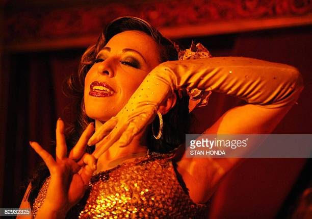 Angie Pontani goes through her routine at the Sixth Annual New York Burlesque Festival on September 18 2008 at Corio Supper Club in New York...