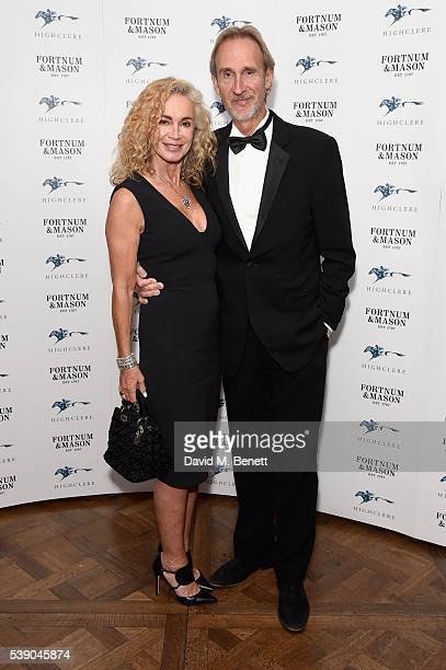 Angie Rutherford and Mike Rutherford attend the Highclere Thoroughbred Racing Royal Ascot preview evening at Fortnum Mason on June 9 2016 in London...