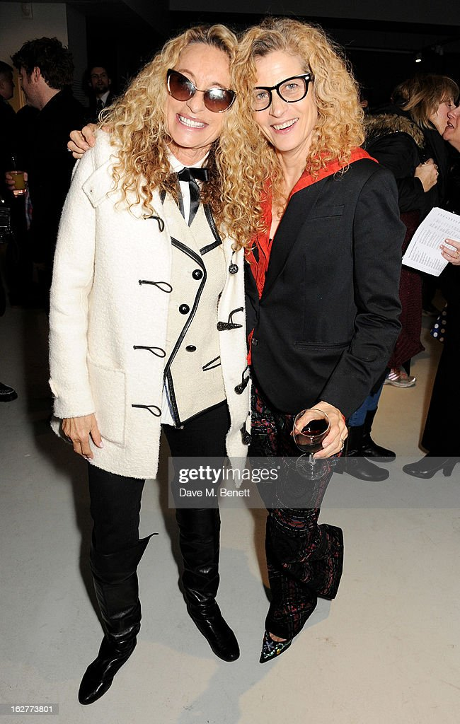 Angie Rutherford (L) and Suzanne Wyman attend a private view of Bill Wyman's new exhibit 'Reworked' at Rook & Raven Gallery on February 26, 2013 in London, England.
