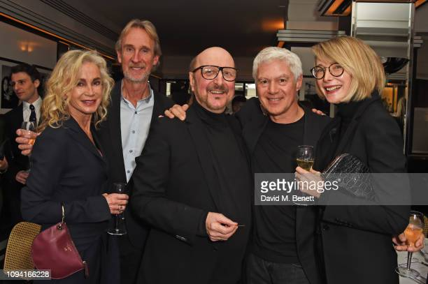 Angie Rutherford Mike Rutherford Clive Arrowsmith John Frieda and Marianne Swannell attend the launch of John Swannell's photography exhibition at Le...
