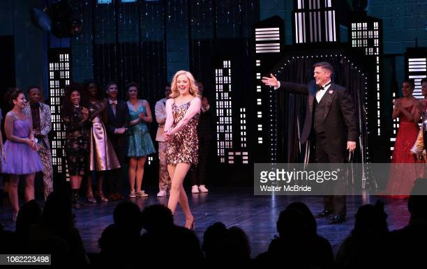 Angie Schworer and Christopher Sieber during the Broadway Opening Night Curtain Call of 'The Prom' at The Longacre Theatre on November 15 2018 in New...