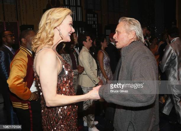 Angie Schworer and Michael Douglas chat backstage at the hit new musical 'The Prom' on Broadway at The Longacre Theatre on January 13 2019 in New...