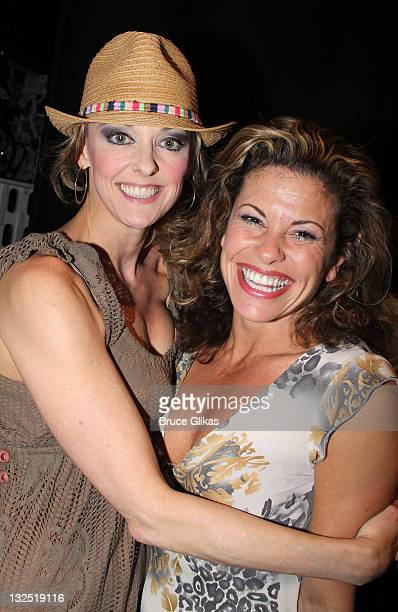 Angie Schworer and Rachelle Rak celebrate 100 Performances on Broadway backstage at the hit musical ''Catch Me If You Can'' on Broadway at The Neil...