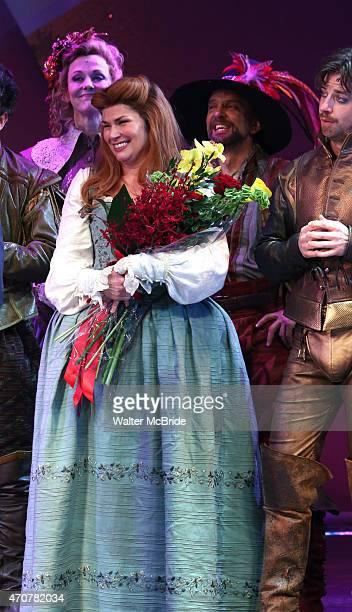Angie Schworer Heidi Blickenstaff and Christian Borle during the Broadway Opening Night Curtain Call for 'Something Rotten' at the St James Theatre...