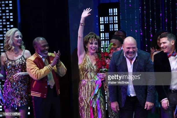 Angie Schworer Michael Potts Beath Leavel Casey Nicholaw and Chad Beguelin during the Broadway Opening Night Curtain Call of 'The Prom' at The...