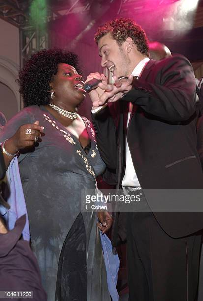 Angie Stone and Justin Timberlake of *NSYNC during The 44th Annual GRAMMY Awards Clive Davis PreGRAMMY Party at Beverly Hills Hotel in Beverly Hills...