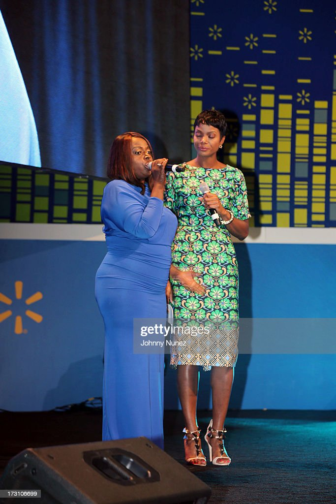 Angie Stone and Tai Beauchamp attend the 2013 Essence Festival at the Ernest N. Morial Convention Center on July 6, 2013 in New Orleans, Louisiana.