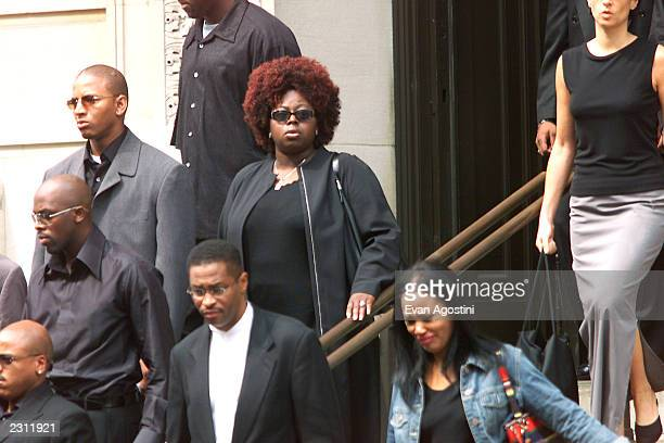 Angie Stone leaving R B singer Aaliyah's memorial service at St Ignatius Loyola Roman Catholic Church in New York City 8/31/2001 Photo Evan...