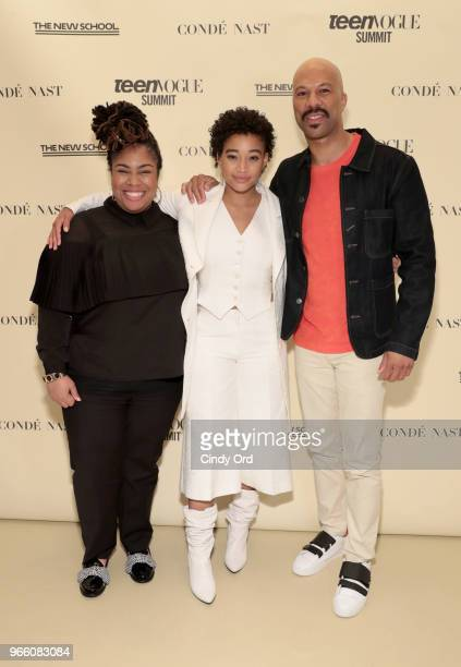Angie Thomas, Amandla Stenberg, and Common attend Teen Vogue Summit 2018: #TurnUp - Day 2 at The New School on June 2, 2018 in New York City.